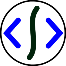 Logo De Scripta: una S estilizada, casi en formato de barra, entre dois paréntesis angulares