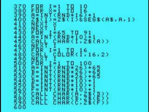 Tela de código em TI Basic